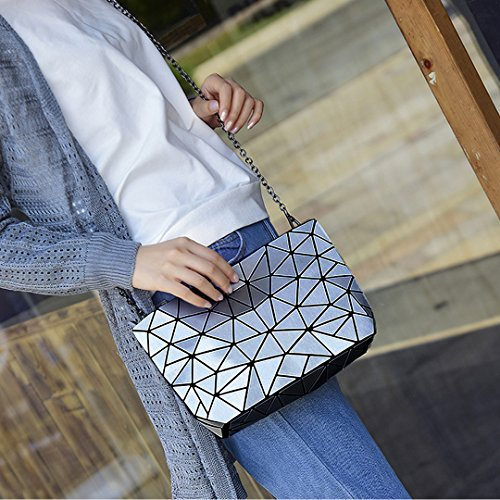 Silver Geometric Leather Satchel Clutch Bag Metal AiSi Chain Holographic Handbags Pu Shoulder Purse 7wZnqSdE