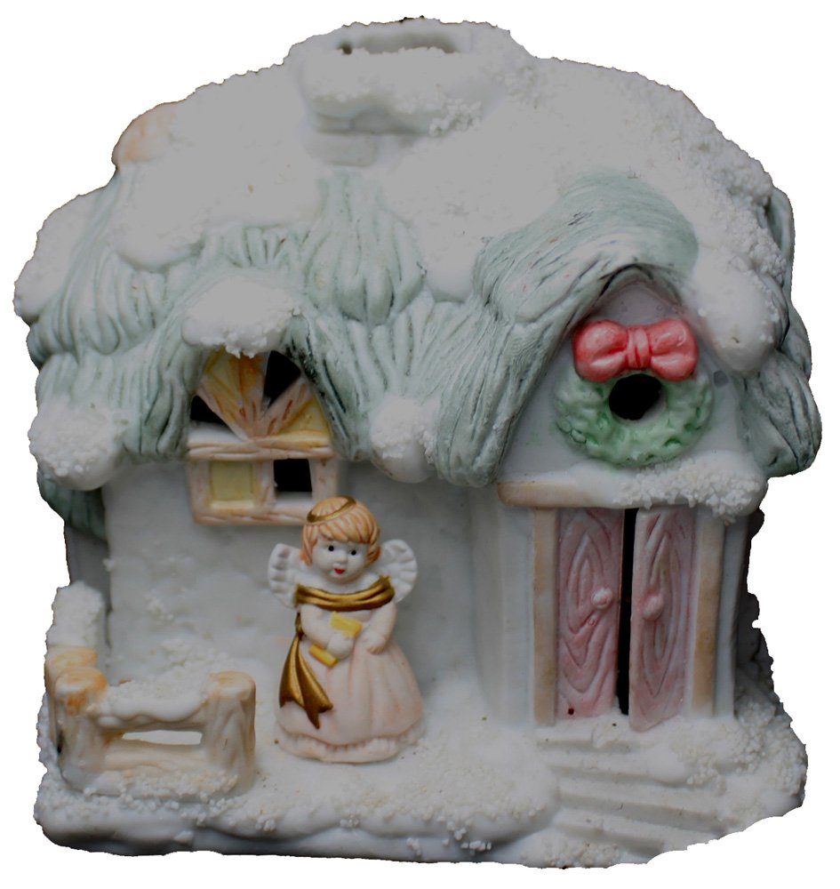 4'' Christmas Snow House Village Candle Holder