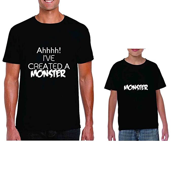 a70fe9cb7 YaYa cafe Family T-Shirts Fathers Day Monster Combo for Dad and Kid Daughter