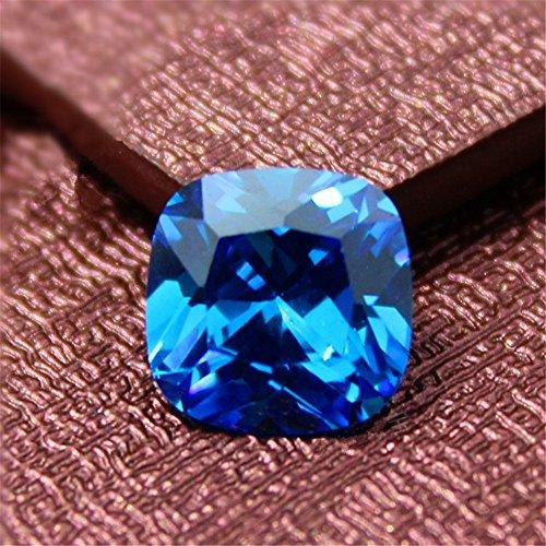 (Light Blue Sapphire Square Faceted Gemstone Cushion Cut Sapphire Gem 10X10mm C68S)