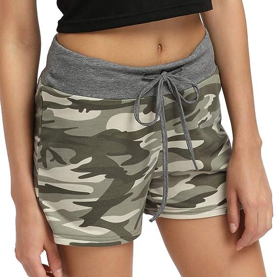 HucodeVan Pantalones Cortos para Mujer,Costura Camuflaje ...