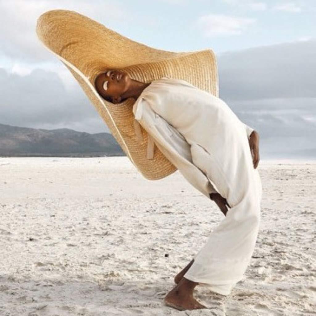 general3 Fashion Super Large Sun Straw Hat Anti-UV Sun Protection Foldable Beach Sunvisor Cap Khaki