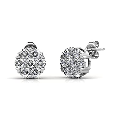 0364eef86 Cate & Chloe Remy 18k White Gold Sparkling Pave Stud Earrings with Swarovski  Crystals, Sparkle