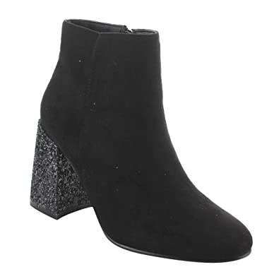 EI73 Women's Side Zipper Glitter Chunky Heel Ankle Booties
