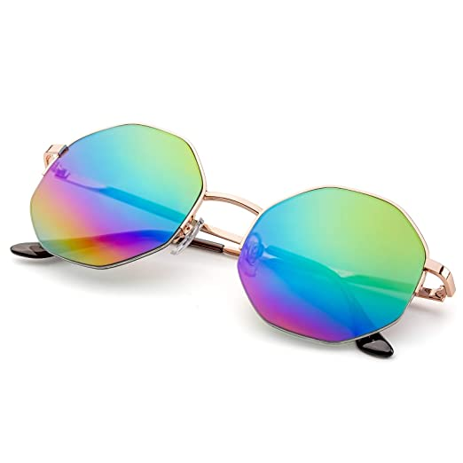 76404f591f PINGLAS Hipster Polygon Sunglasses For Women Delicate Metal Frame Candy  Color UV400 Lens