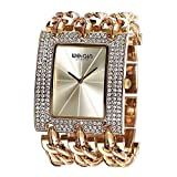 JIANGYUYAN Womens Unique Fashion Classic Casual Luxury watch Business Dress watches Luxury jewelry Bracelet bangle wristwatches Stainless Steel Gold Glitz watches for ladies for big wrist