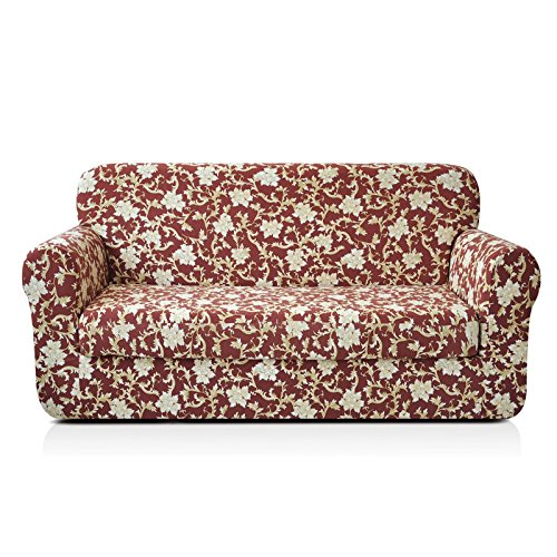 CHUN YI 2-Piece Stylish Printed Polyester Spandex Fabric Loveseat Couch Slipcover Soft Elastic Sofa Cover for 2 Seats Love seat Sofa with Separate Cushion Cover (Loveseat, Coffee Flower) ()