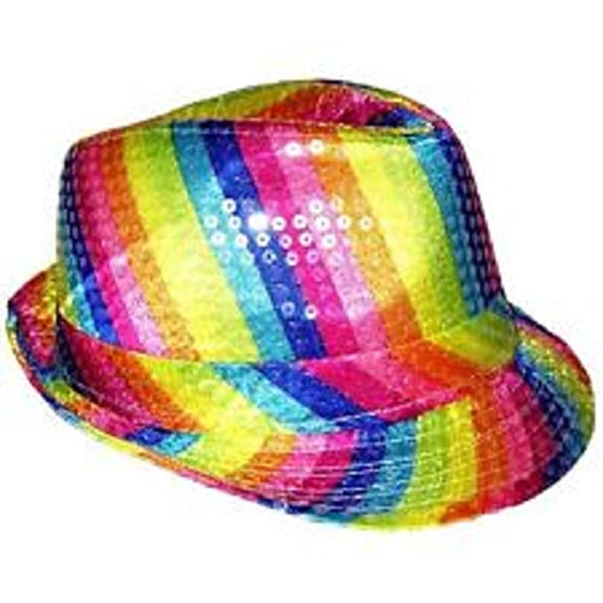 4c25a656209 Amazon.com  LED Light Up Flashing Fedora Hat and Tie Combo - Colorful Pride  Rainbow Striped by Mammoth Sales  Clothing