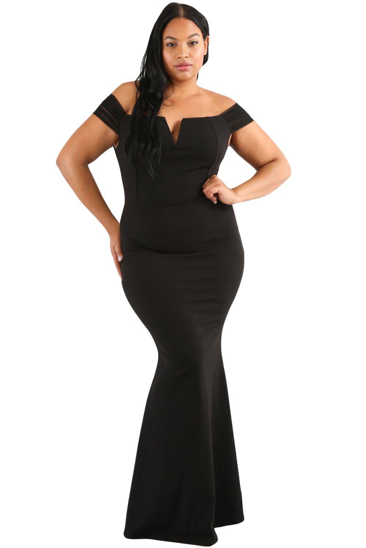 53634187270d0 Lalagen Women's Plus Size Off Shoulder Long Formal Party Dress Evening Gown  Black XL