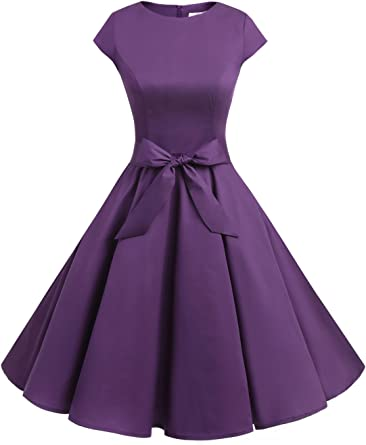 TALLA XXL. Dressystar Vintage 1950s Polka Dot and Solid Color Prom Dresses Cap-Sleeve Purple XXL