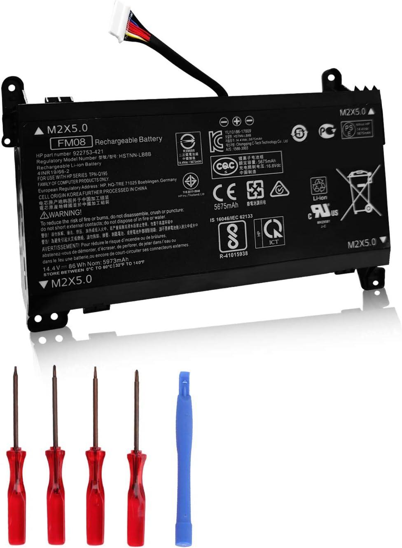 OUSIDE New FM08 HSTNN-LB8B Battery for HP Omen 17-AN013TX 17-AN014TX 17-AN014NG HQ-TRE Series 922753-421 922976-855 922977-855 14.4V 86Wh 5973mAh