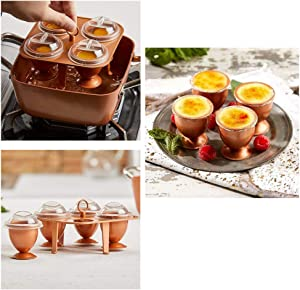 Set of 4 Perfect Copper Eggs XL with Non Stick Coating - No Peel Soft, Hard and Poached Eggs Without the Shell Egg Makers