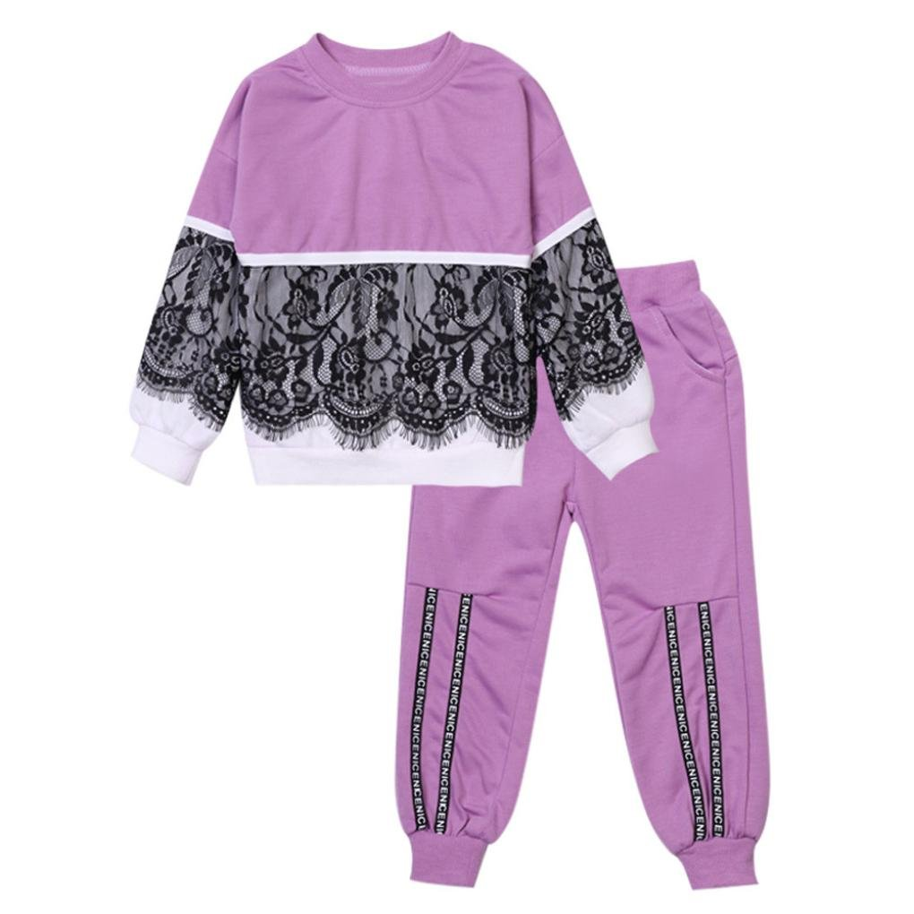 Little Girl Sport Sets,Jchen(TM) 2Pcs Toddler Baby Kids Girls Lace Pullover Long Sleeve Tops Pants Outfits Autumn Clothes Sets for 2-6 Years Old (Age: 2 Years Old, Purple)