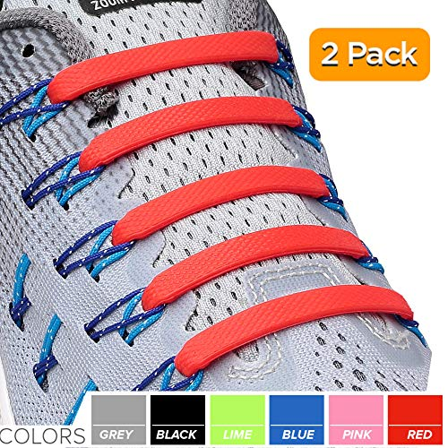 2SPORTIFY No Tie Shoelaces for Kids and Adults - Tieless Elastic Shoe lace for Sneakers Silicone Flat Laces (2 Pack) (Black - Red)