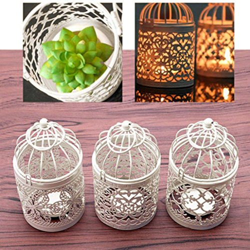 Hollow Holder Tealight Candlestick Hanging Lantern Vintage Bird Cage Wrought New ,Tuscom (#2)