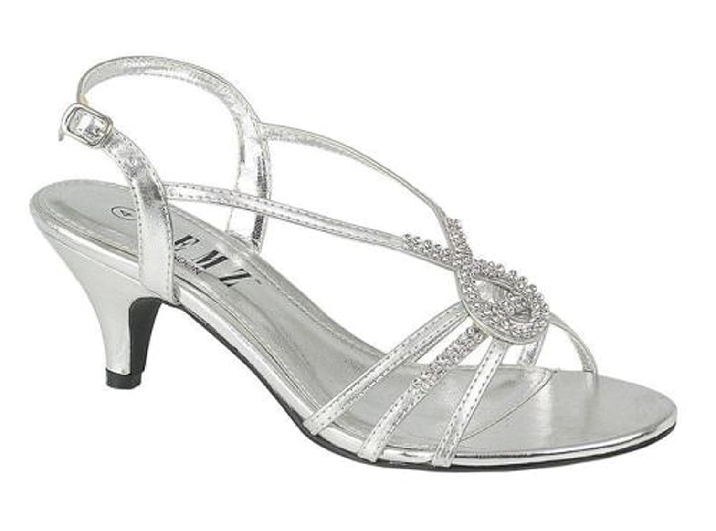Chic Feet Silver Diamante Wedding Prom Evening Low Heel Sandals ...