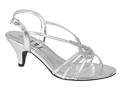 ef104eae8a Chic Feet Silver Diamante Wedding Prom Evening Low Heel Sandals (UK ...