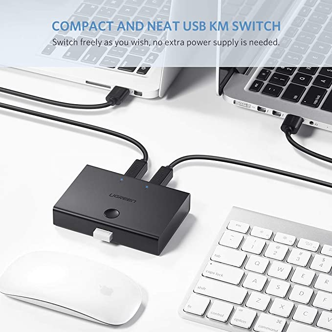 USB 2.0 Switch 2 x 1, UGREEN Conmutador USB 2 Entradas y 1 Salida, KVM Switch USB con 2 Cable USB para Compartir Dispositivo USB como Teclado, Ratón, Memorias USB, Disco Duro,