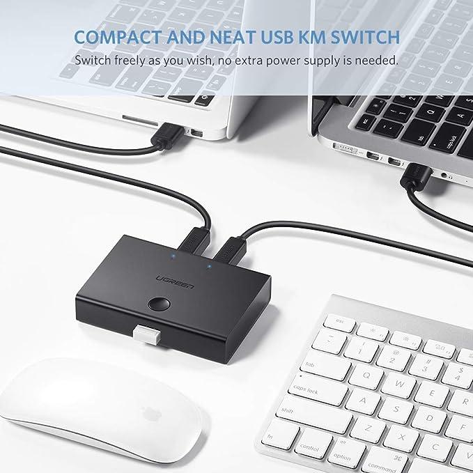 USB 2.0 Switch 2 x 1, UGREEN Conmutador USB 2 Entradas y 1 Salida para Compartir Un USB Periférico Entre Dos Ordenadores, como Teclado, Ratón, Disco Duro, ...