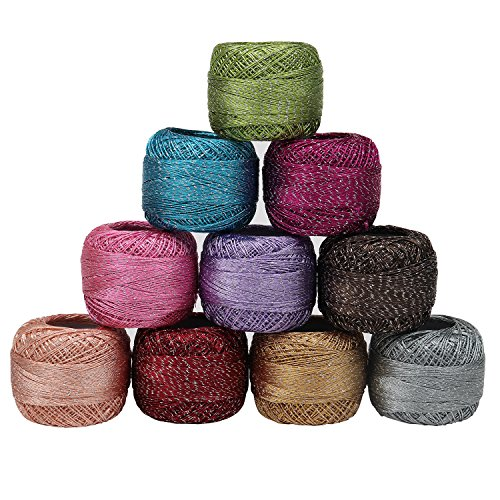 Crochet Cotton - 10 pieces Cotton Threads- 92.95 Yards cotton yarn - Glitter Knitting yarn for Embroidery,quilting - 929.50 Yards Total Colored cotton thread for beginners and (Metallic Crochet)