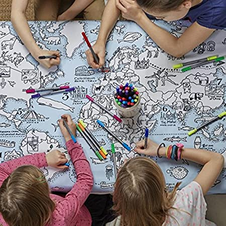 World map cotton tablecloth with wash out fabric pens colour and world map cotton tablecloth with wash out fabric pens colour and learn gumiabroncs Choice Image