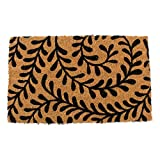 J&M Home Fashions Welcome Natural Coir Coco Fiber Non-Slip Outdoor/Indoor Doormat, 18x30, Black Ferns