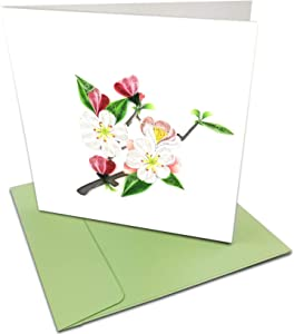 """Apple Blossom Flowers Quilling Greeting Card, 6x6"""" with Envelope. Any Occasion. Blank Inside. Hand-made. Suitable for Framing."""