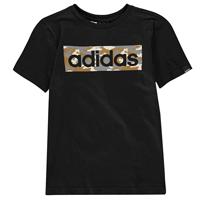 adidas Kids Boys Camo Linea T Shirt Junior Crew Neck Tee Top