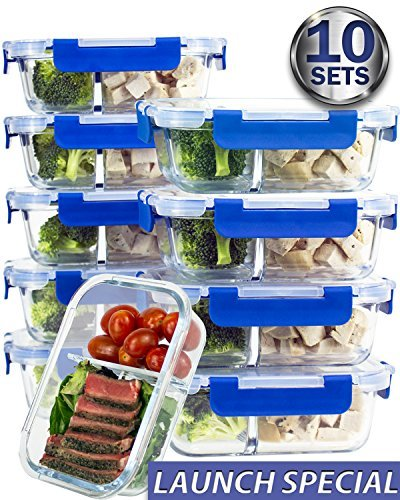 [10 SETS VALUE PACK] Two Compartment Glass Meal Prep Containers – Glass Food Storage Containers with Lids Meal Prep – LIFETIME Lids – Lunch Containers Portion Control Containers – BPA Free Containers
