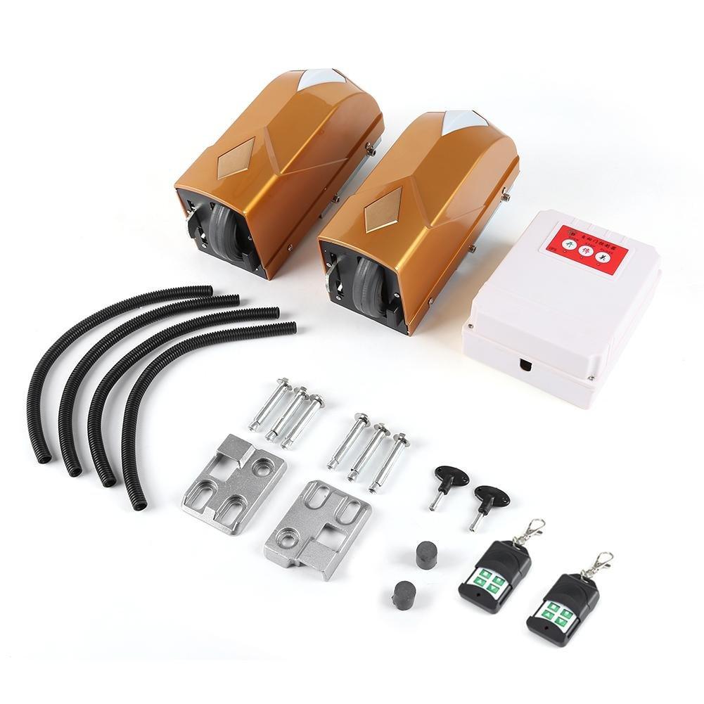 Eléctrico Automático Abrepuertas de Columpio Doble 2 Motores + 2 Control Remoto + 1 Caja de Control