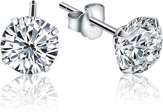 STERLING SILVER Earring Stud ALLERGY FREE Clear HEART Sparkling Earring Stud