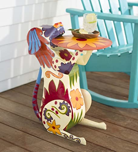Plow Hearth Handmade Colorful Painted Folk Art Design Metal Dog Side Table Accent Functional Artwork
