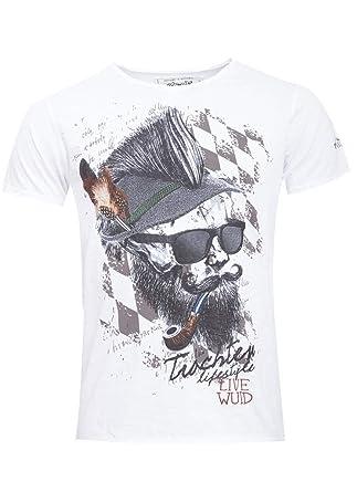 Hangowear Herren Trachten Mode Trachtenshirt Ismael in Weiss