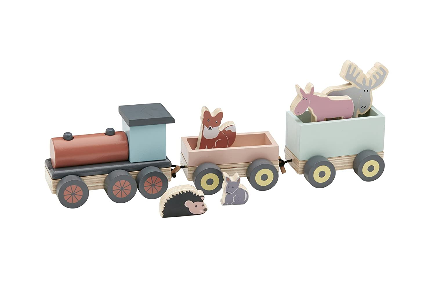 Kids Concept wooden toy train with Forest Animals Edvin 46X9X10 cm, Multi