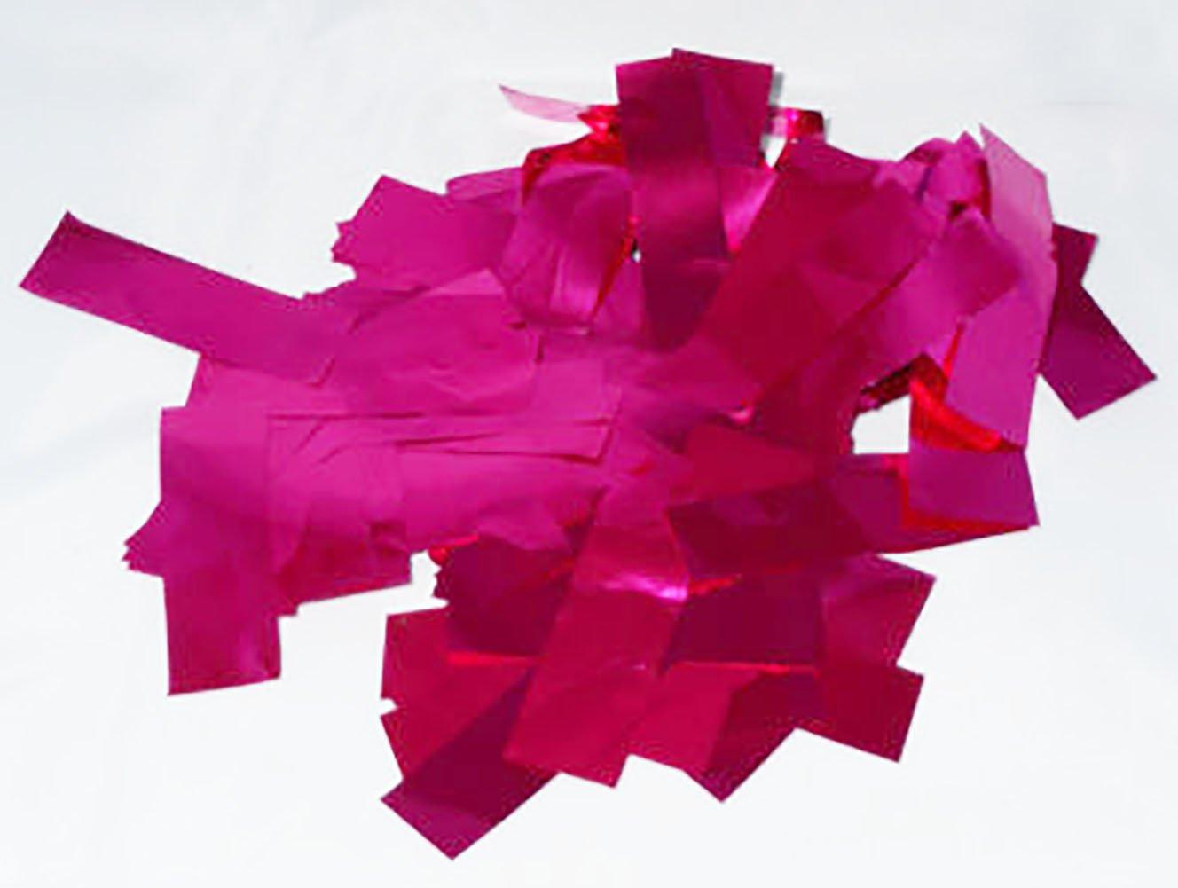 "Custom & Fancy {2.5'' x .75'' Inch} 1 Lb of Large Rectangle ""Throwing"" Party Confetti Made of Premium Metallic Foil w/ Elegant Vivid Beautiful Design [Fuchsia]"