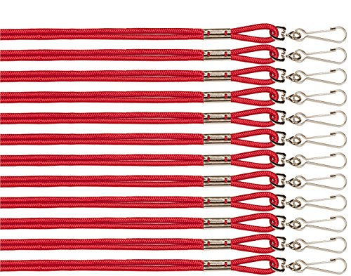 Champion Sports Heavy Duty Nylon Lanyard - Bulk Pack of 12 Color: Assorted