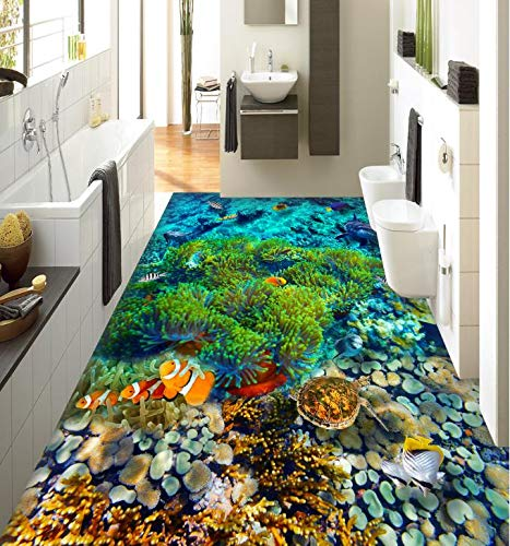 Wapel Mural Custom Size Self-Adhesive PVC Wallpaper 3D Flooring Tiles Mural Tropical Fish Wallpaper for Kids Room Dedicated 3D Floor Self Adhesive Wallpaper 250x175cm