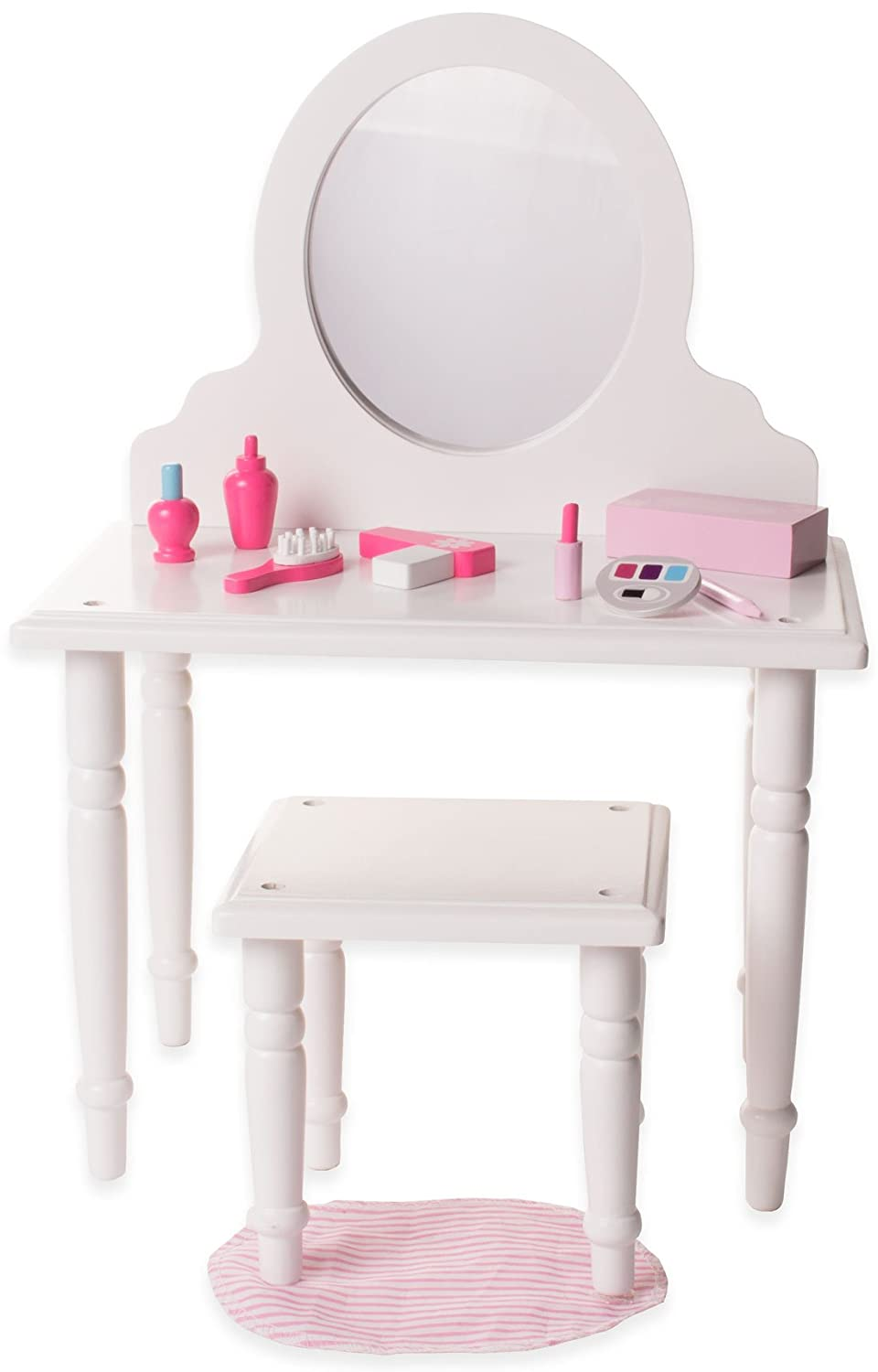 18 Inch Doll Vanity and Stool Set with Makeup Accessories- Playtime by Eimmie Collection