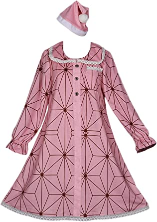 Kamado Nezuko Cosplay Pajamas Sleepwear Nightgown Womens Novelty Nightdress Onesies with Hat