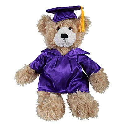Plushland Beige Brandon Custom Plush Stuffed Animal Teddy Bear Toys for Graduation Day, Personalized Text, Name or School Logo on Gown, Best for Any Grad School Kids 12 Inch (Beige-Purple): Toys & Games
