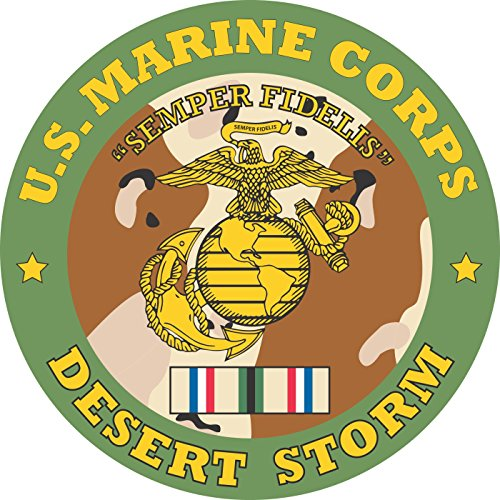 Military Vet Shop United States Marine Corps Desert Storm Window Bumper Sticker Decal 3.8