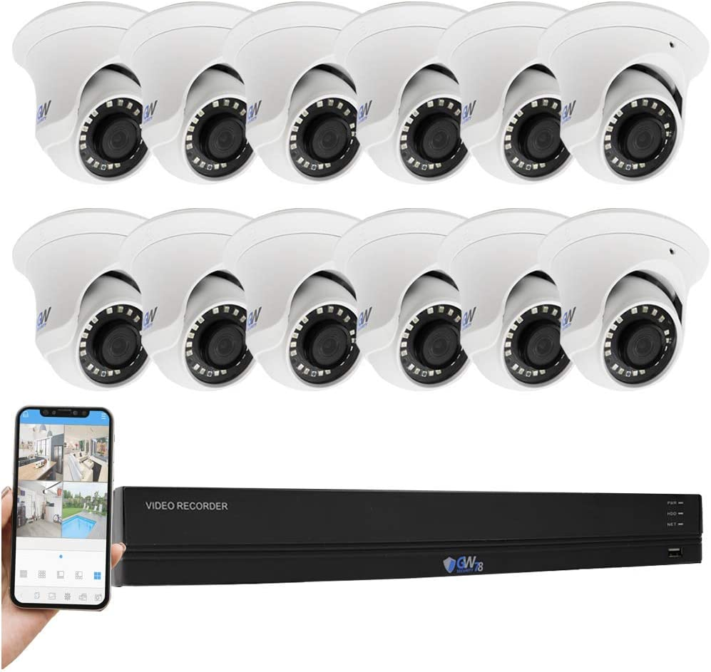 GW 16 Channel 4K H.265 CCTV System Surveillance DVR Kits with 16 x HD 8MP 2160P Outdoor Indoor 4K Dome Security Cameras, 100ft Night Vision, 4TB Hard Drive Pre-Installed