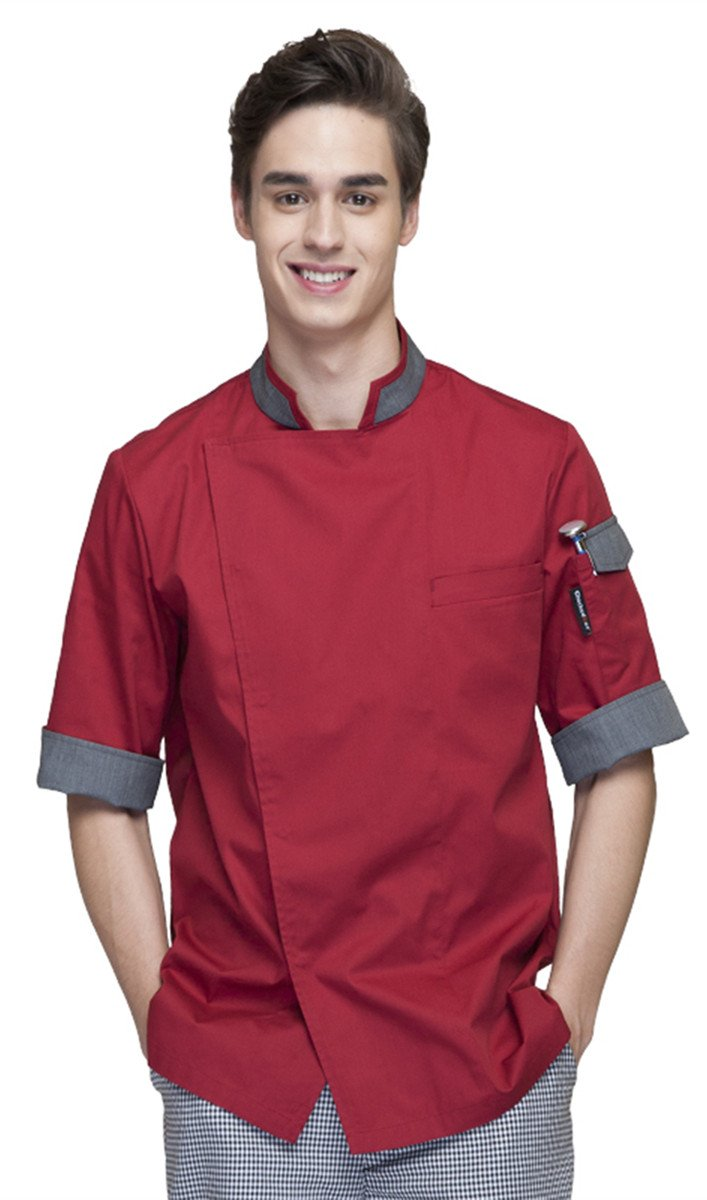 XinAndy Men Chef Coat Unisex Short Sleeves