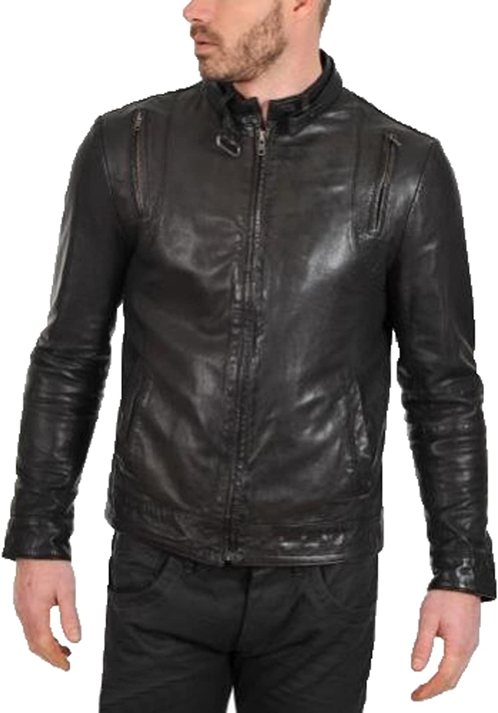 Men Leather Jacket Coat Motorcycle Biker Slim Fit Outwear Jackets T1144