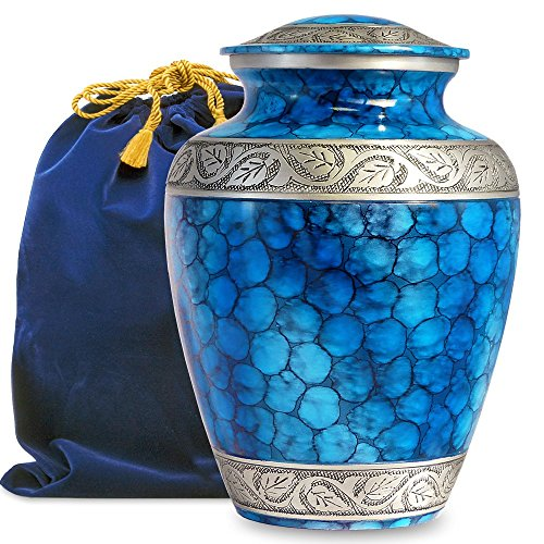 - Forever Remembered Classic and Beautiful Blue Adult Cremation Urn for Human Ashes - an Elegant High Quality Large Urn with a Warm, Comforting Classy Finish to Honor Your Loved One - with Velvet Bag