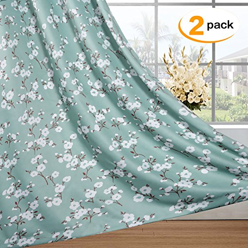 H.VERSAILTEX Traditional Aqua Floral Country Style Pattern Thermal Insulated Blackout Curtains for Living Room,Grommet Window Treatment Drapes (2 Panels), W52 x L84 Inch