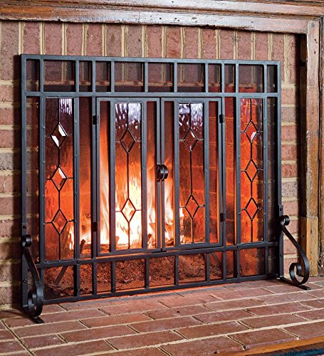 Diamond Fireplace Screen with Alternating Panels and Small Powder-Coated Tubular Steel Frame and Tool Set, in Black ()