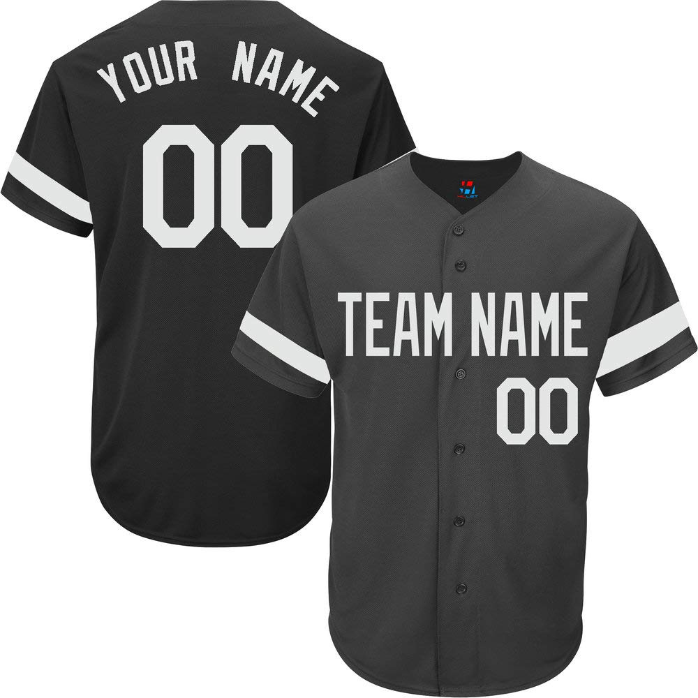 Black Custom Baseball Jersey for Men Full Button Mesh Big and Tall Personalized Name & Numbers,White Striped Size 6XL by Pullonsy