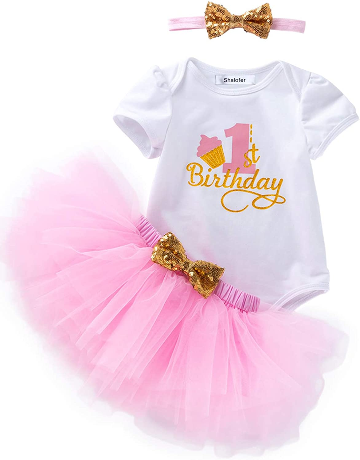 7Pcs Outfit Set Baby Girls One Year Old Birthday Lace Tutu Bodysuit Skirt  with Headband