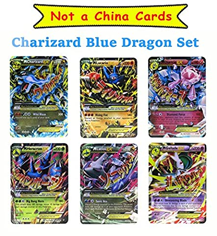 Set of 6 Mega EX Cards (Plastic Laminated Cards) Charizard X Version, Lucario and etc